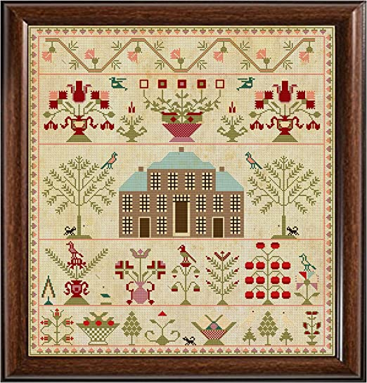 Antique 1817 Brick House Regency Scottish Sampler Reproduction Cross Cross Stitch Counted Chart PDF on CD Unique Easy to Make Vintage English Embroidery Needlepoint European Scotland