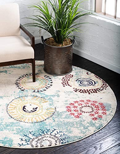 Unique Loom Estrella Collection Colorful Abstract Beige Round Rug 6 0 x 6 0