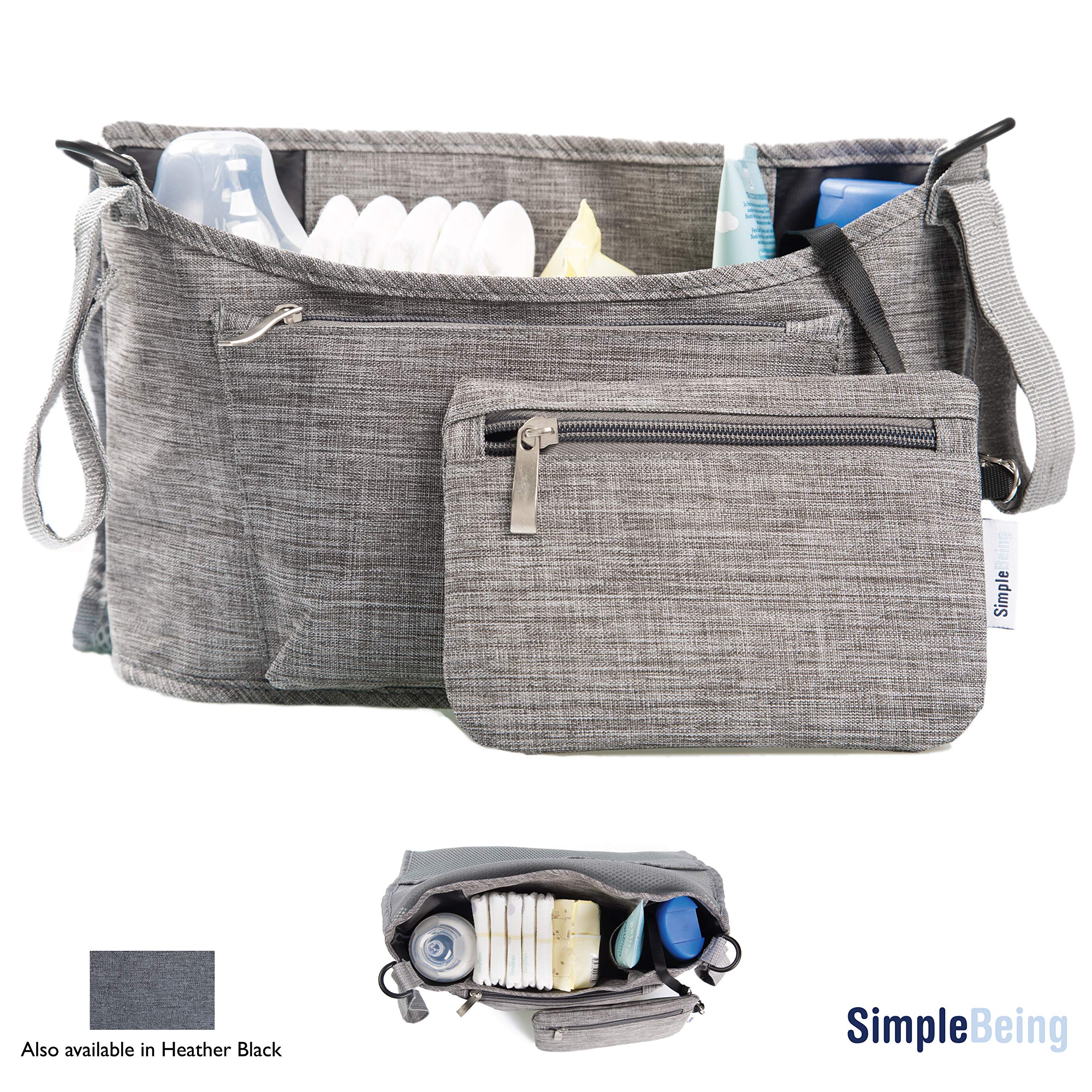 Simple Being Baby Stroller Organizer, Universal Fit Storage Compartments Travel Accessories Bag (Grey)