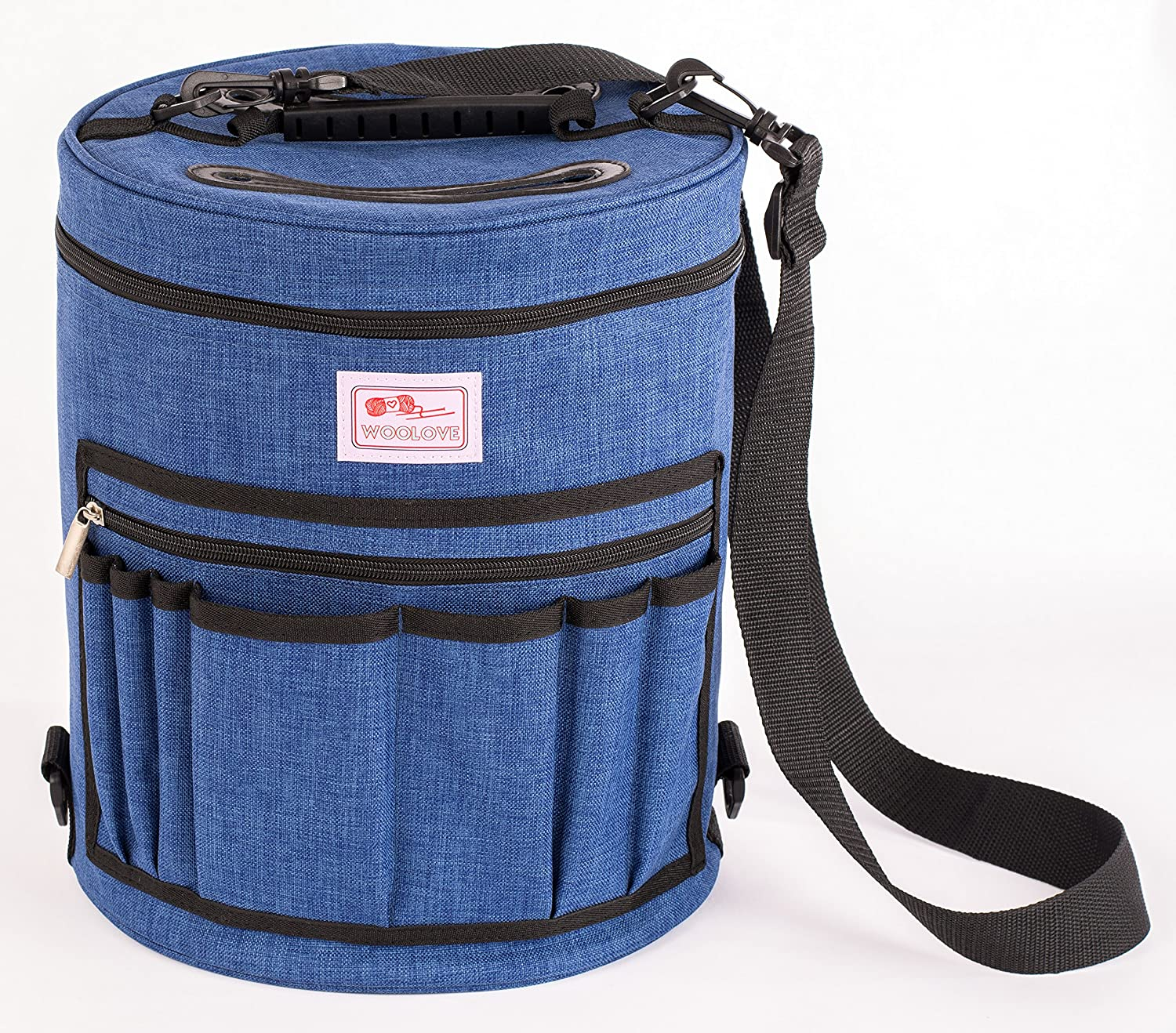 Premium knitting Bag By Woolove - yarn holder (blue, XL) - Portable Tote organizer for knitting with 4 Detachable Dividers - Slits on Top to Protect Wool and Prevent Tangling.