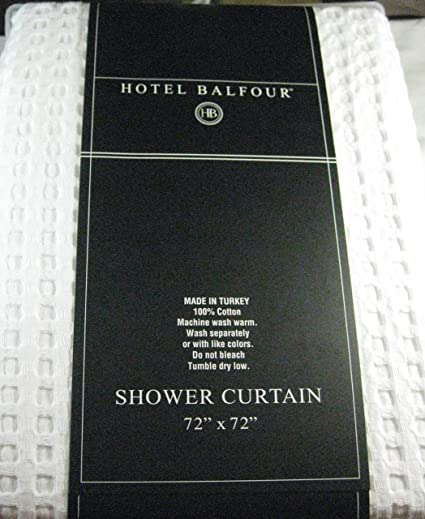 Hotel Balfour Premium Quality Fabric Shower Curtain White Waffle Weave 100 Cotton