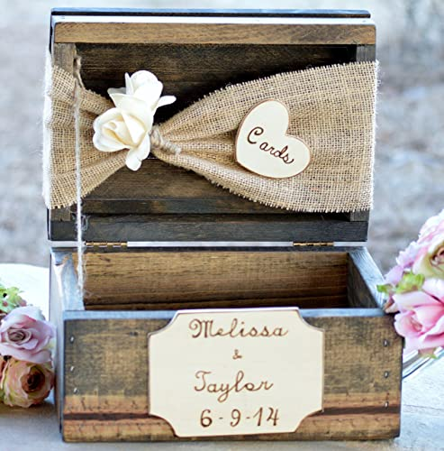 rustic wedding card box shabby chic card holder bridal shower decor burlap wedding