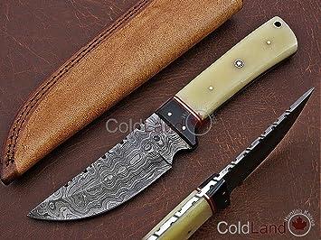 ColdLand UH02-4 - Cuchillo de Caza de Acero de Damasco ...