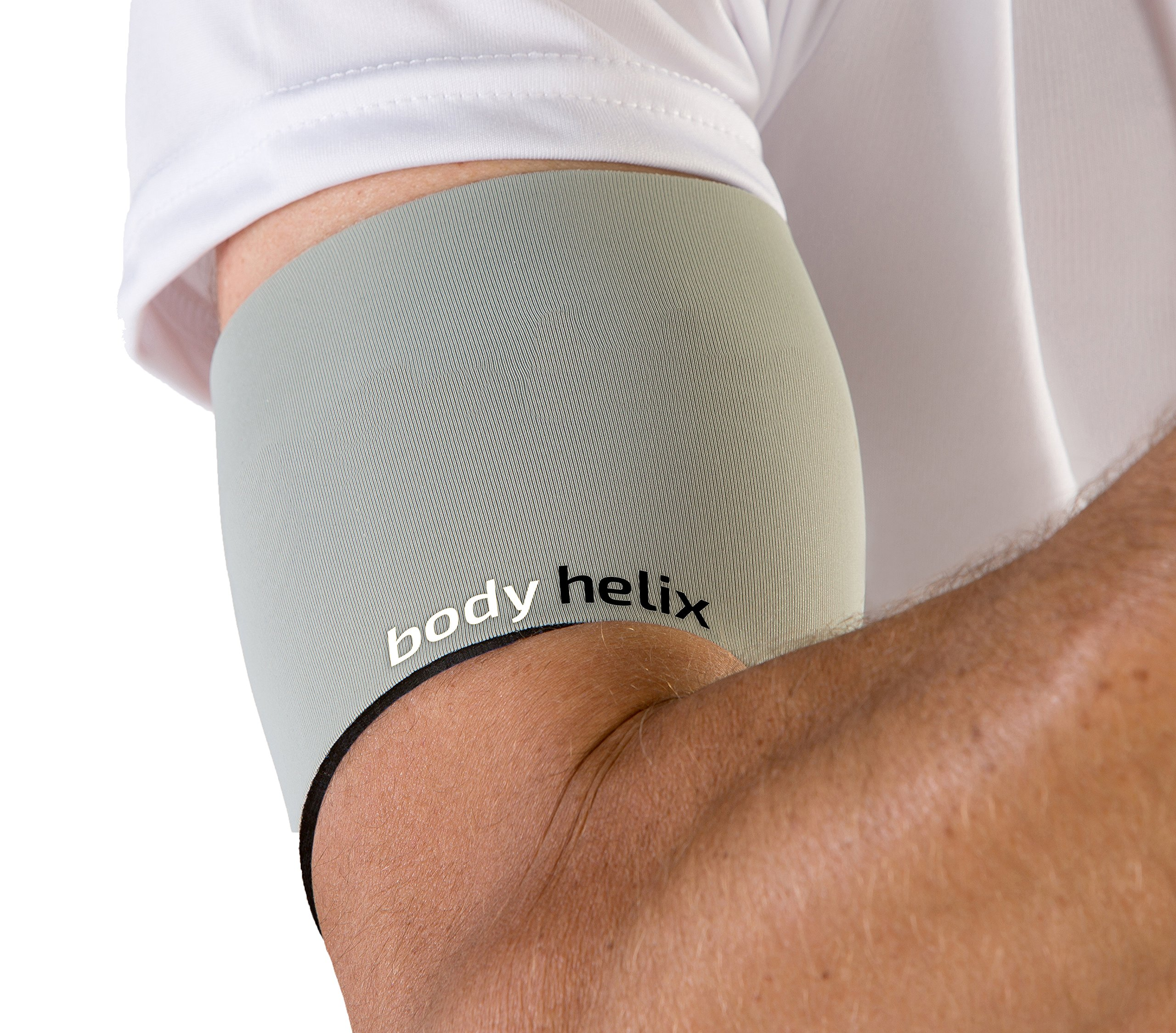 body helix Arm Compression Sleeve Wrap - Pain Relief for Bicep and Tricep Muscle Strains (Silver, Large)