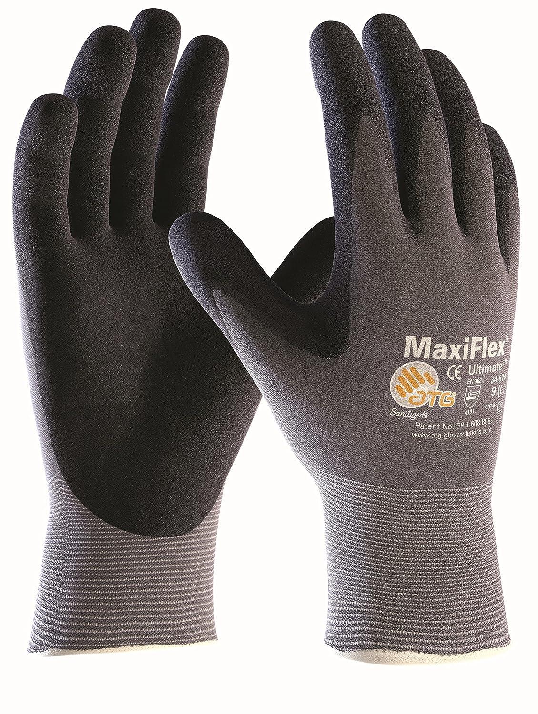 10 Paar Maxiflex Ultimate Nylon-Strickhandschuhe grau/schwarz, ATG 34-874 Grö ß e 9
