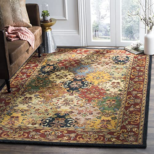Safavieh Heritage Collection HG911A Handmade Traditional Oriental Multi and Burgundy Wool Area Rug 4 x 6