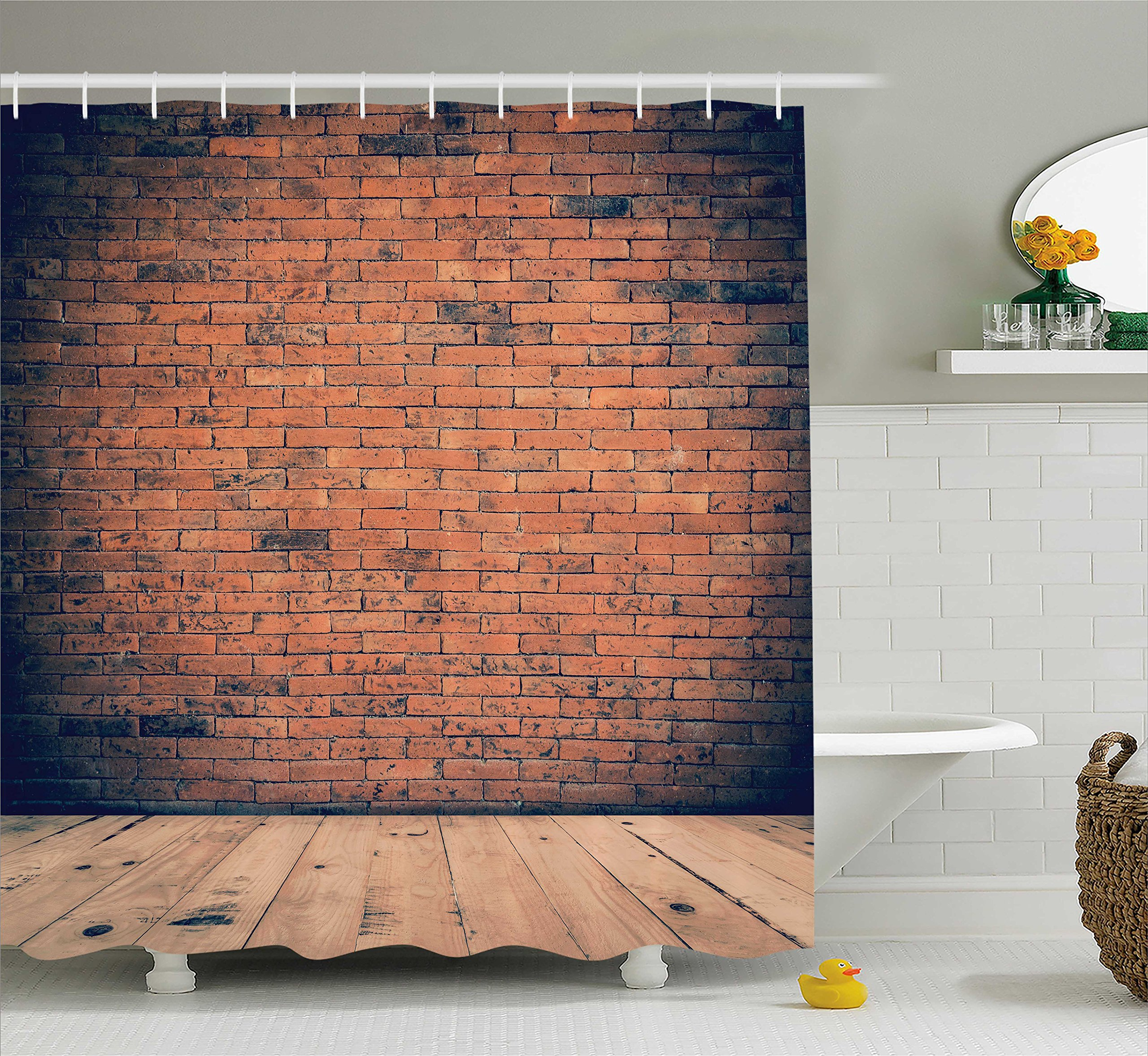 Ambesonne Vintage Decor Collection, Old Fashioned Bricks in Dark Room with Antique Wood Floor Vintage Ancient Retro Room Decor, Polyester Fabric Bathroom Shower Curtain Set with Hooks, Red