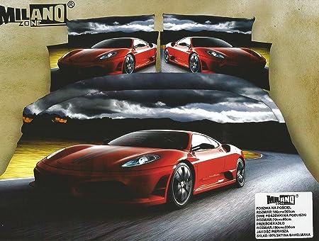 Copripiumino Ferrari.3d Stampa Fotografica Copripiumino Matrimoniale 4 Pz Rosso Auto