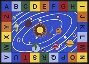 "Ottomanson Jenny Collection Blue Base with Multi Colors Kids Children's Educational Our Solar System Design Area Classroom Rugs, Multicolor,  8'2"" X 9'10"""