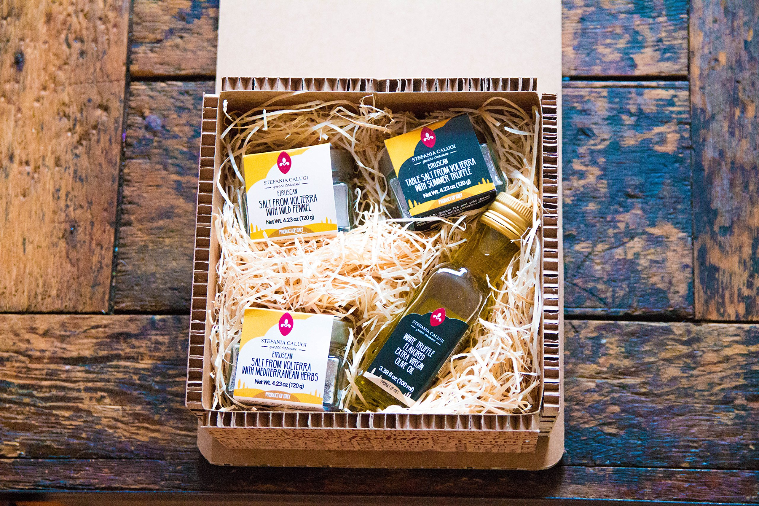 Italian Salt Selection and Truffle Olive Oil Pantry Gift Bundle by Stefania Calugi. Three Varieties of Volterra Table Salts (Truffle, Wild Fennel, Garden Herbs) and Truffle Olive Oil.