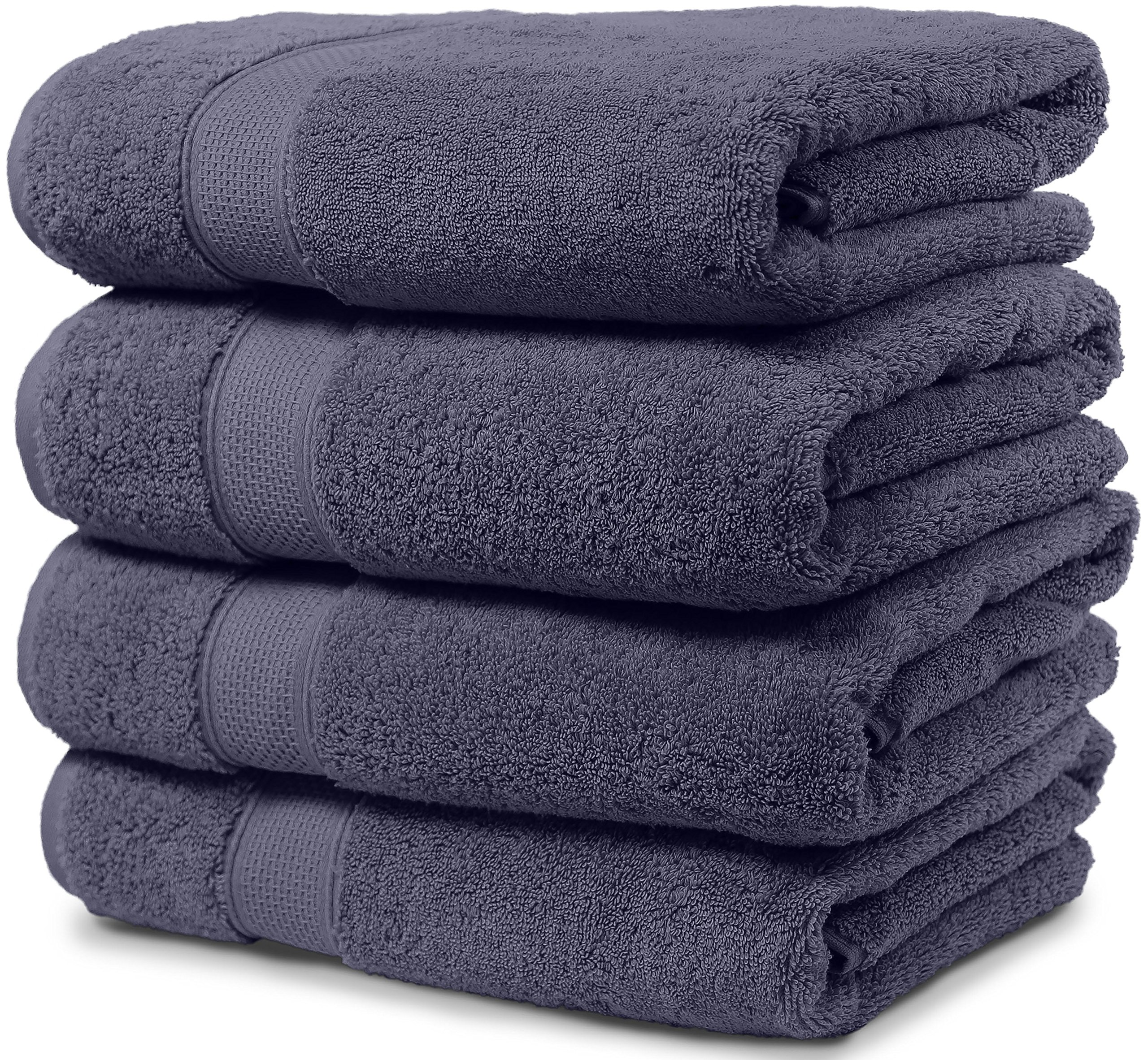 4 Piece Bath Towel Set. 2017(New Collection).Premium Quality Turkish Towels. Super Soft, Plush and Highly Absorbent. Set Includes 4 Pieces of Bath Towels. By Maura. (Bath Towel - Set of 4, Denim Blue)