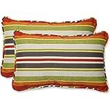 Pillow Perfect Outdoor Roxen Stripe Citrus Rectangular Throw Pillow, Set of 2