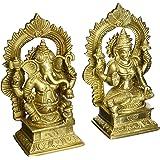 Set of Ganesha Lakshmi Idols Hindu Statues Diwali Puja Brass 6.5 x 3 Inches