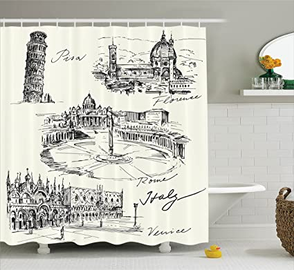 Ambesonne Sketchy Shower Curtain Travel The World Themed Historical Italian Landmarks Venice Rome Florence Pisa