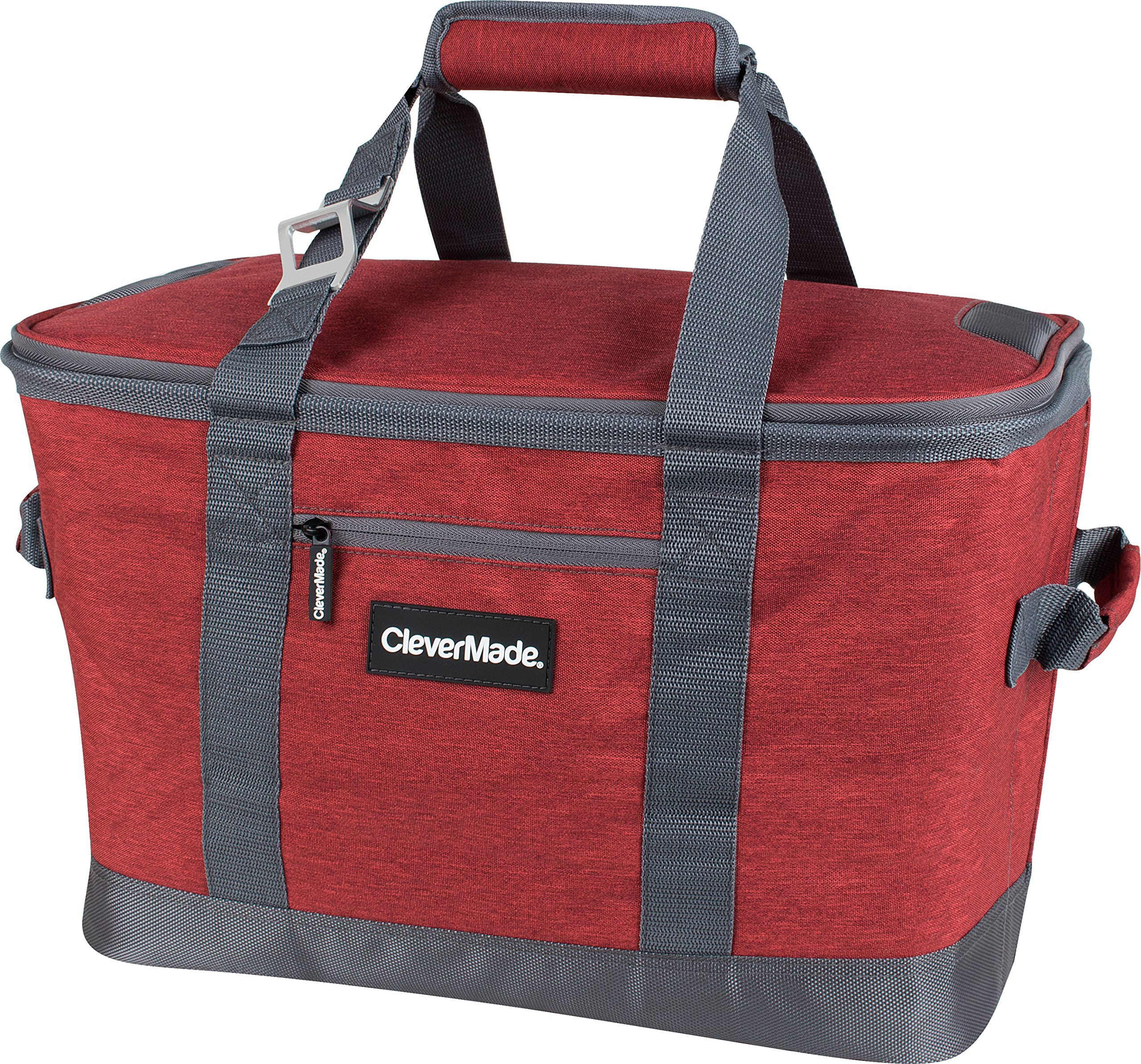CleverMade Collapsible Cooler Bag: Insulated Leakproof 50 Can Soft Sided Portable Cooler Bag for Lunch, Grocery Shopping, Camping and Road Trips, Heathered Red/Charcoal by CleverMade