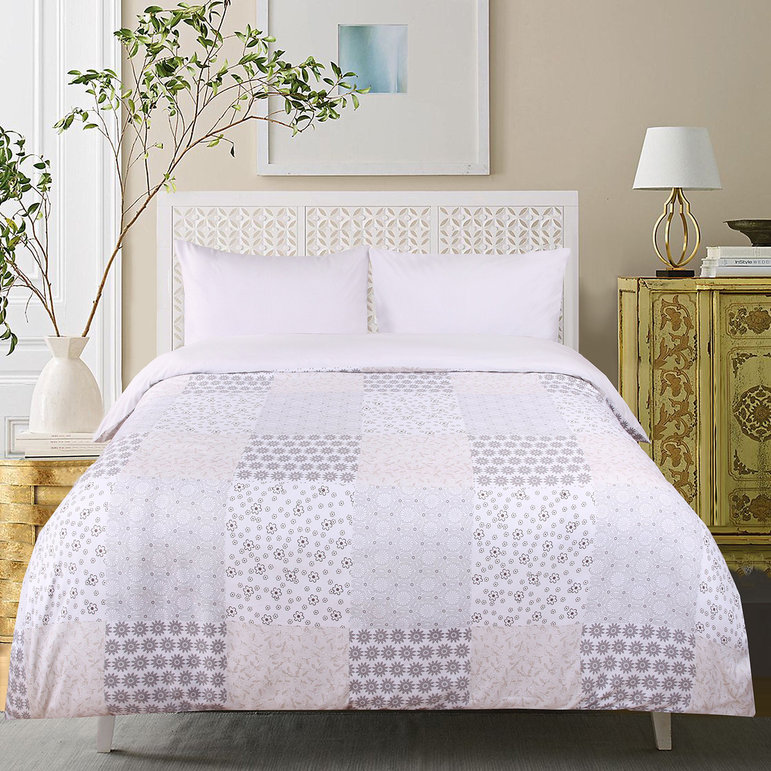 PuTian Home-PrintedDuvet/CoverSets Velvety,Luxurious,Comfortable,Breathable 5Star Hotel PaisleyQueen