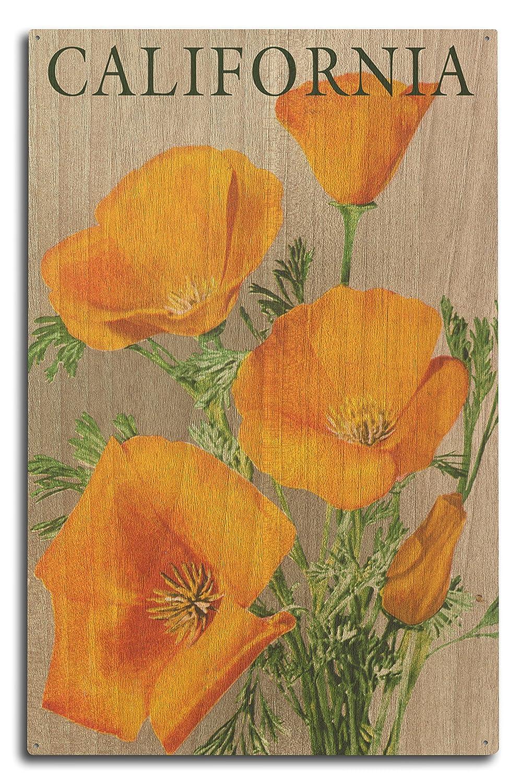(10 x 15 Wood Sign) - California - Poppies (10x15 Wood Wall Sign, Wall Decor Ready to Hang) B073678X9F  10 x 15 Wood Sign