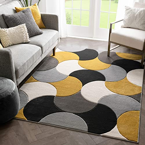 Well Woven Hilda Gold Modern Geometric Circles Boxes Pattern Area Rug 8×10 7 10 x 10 6