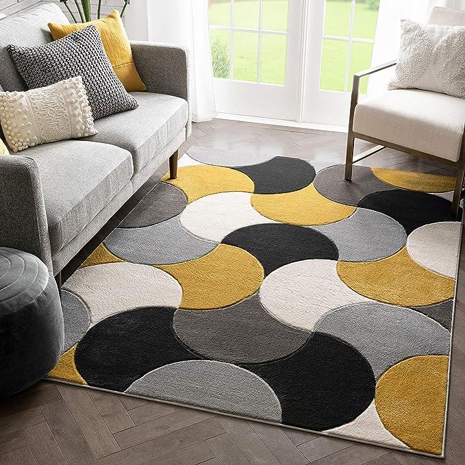Well Woven Hilda Gold Modern Geometric Circles Boxes Pattern Area Rug 5x7 5 3 X 7 3 Home Kitchen Amazon Com