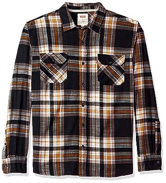 Levis Mens Stillman Long Sleeve Slub Twill Shirt Black Beauty