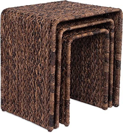 Espresso Bed Sofa Snack End Table Living Room Accent Side Table Hand-Woven BIRDROCK HOME 3 PC Abaca Nesting Tables