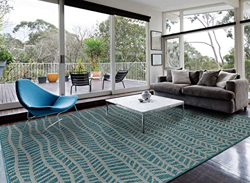 HOMEGNOME Indoor Outdoor geo Wave Rug 8 x10 , Ocean Blue
