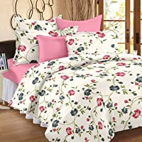 Ahmedabad Cotton Comfort 160 TC Cotton Bedsheet with 2 Pillow Covers, Multicolour