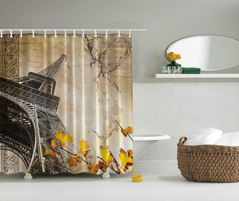 Romantic shower curtain - Amazon Com Eiffel Tower Shower Curtain Paris Decor Cityscape By Ambesonne Falling Leaves In Romantic Love Autumn Season Printed Art For Girls Boys Fabric