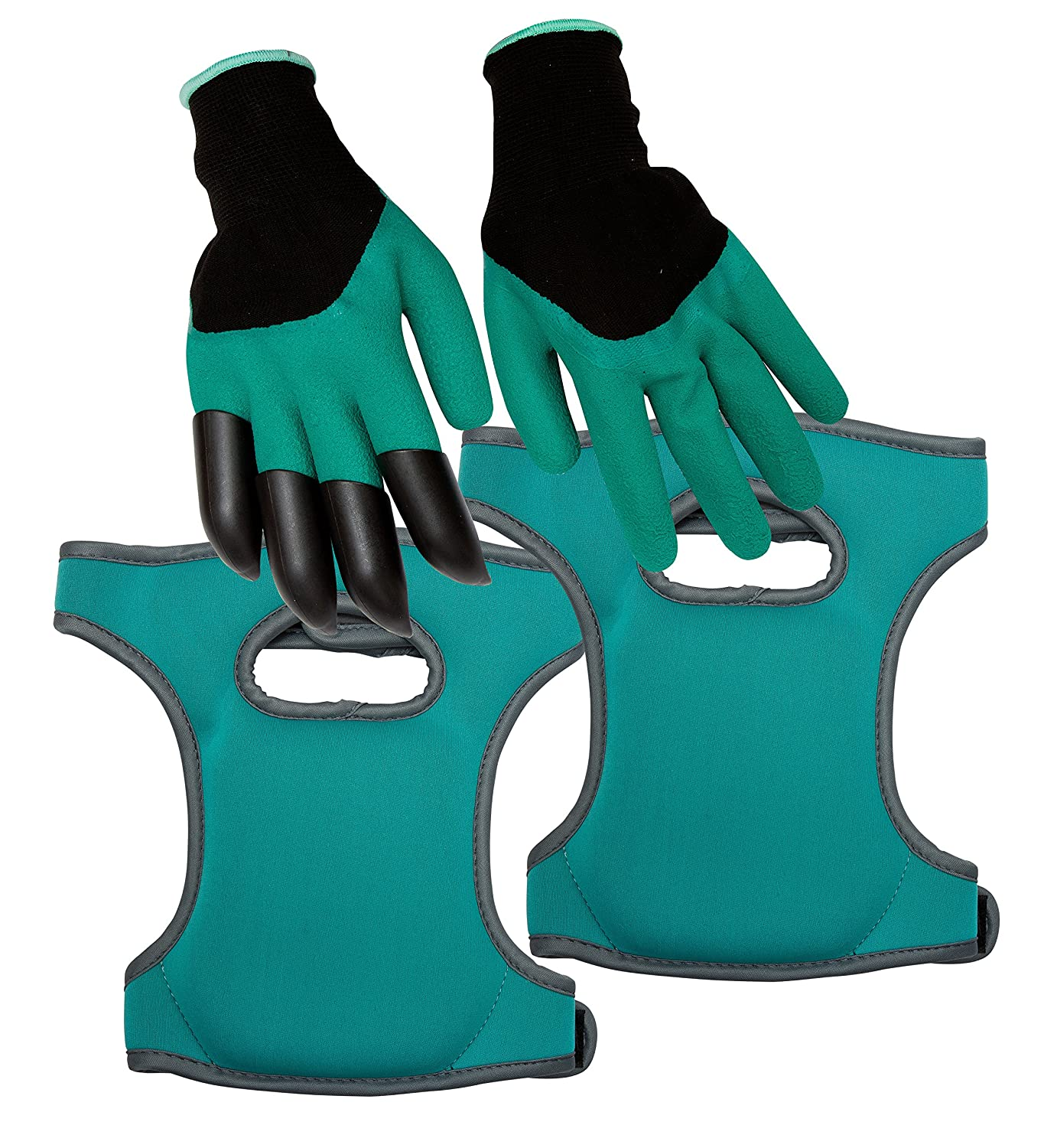Homekit Gardening Knee Pads and Gardening Gloves Set – Incudes Finger Claws for Easy Digging by Allkit