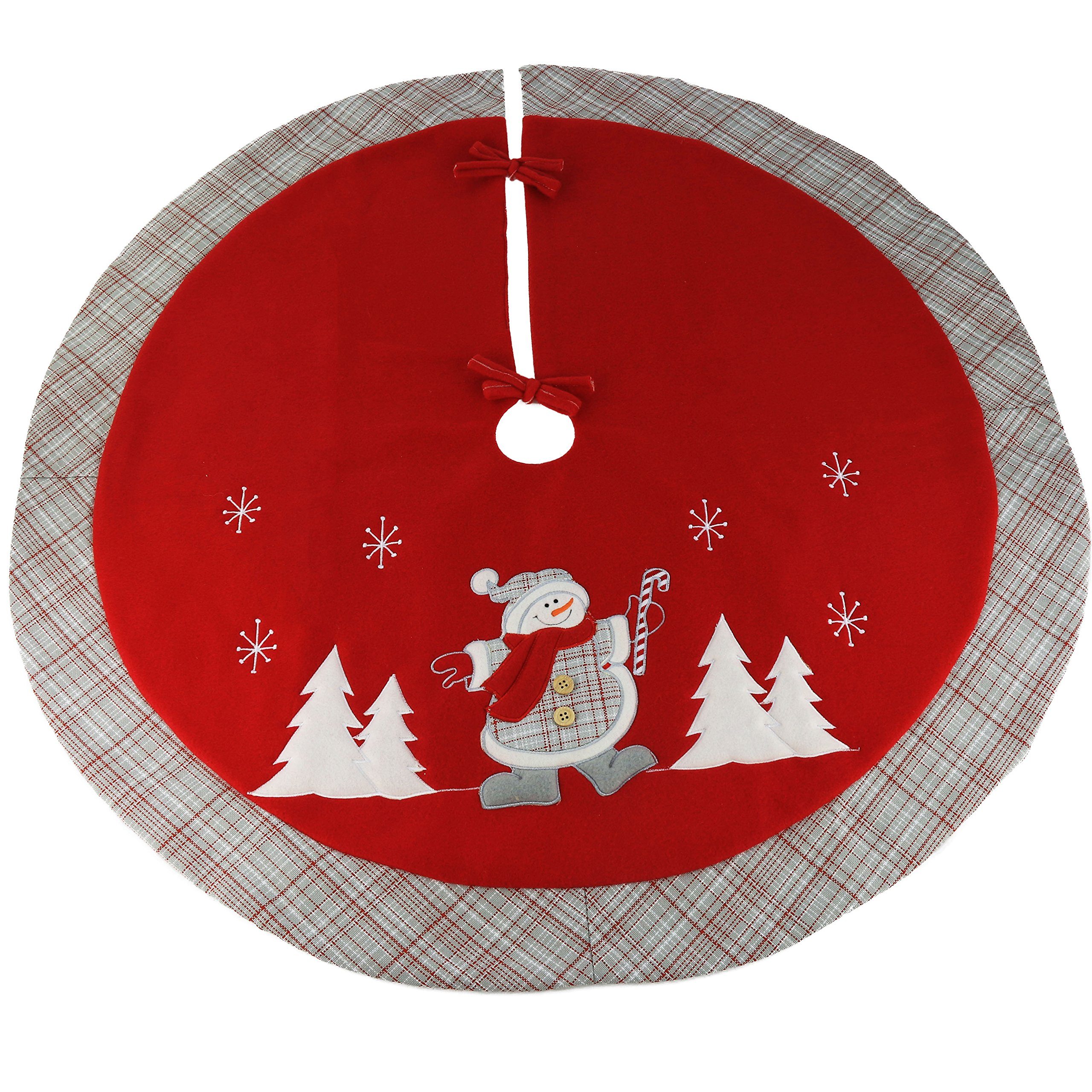 Wewill 35'' Luxury Thick Christmas Tree Skirt Embroidered Snowman with Tartan Design Home Ornament(Style 5)