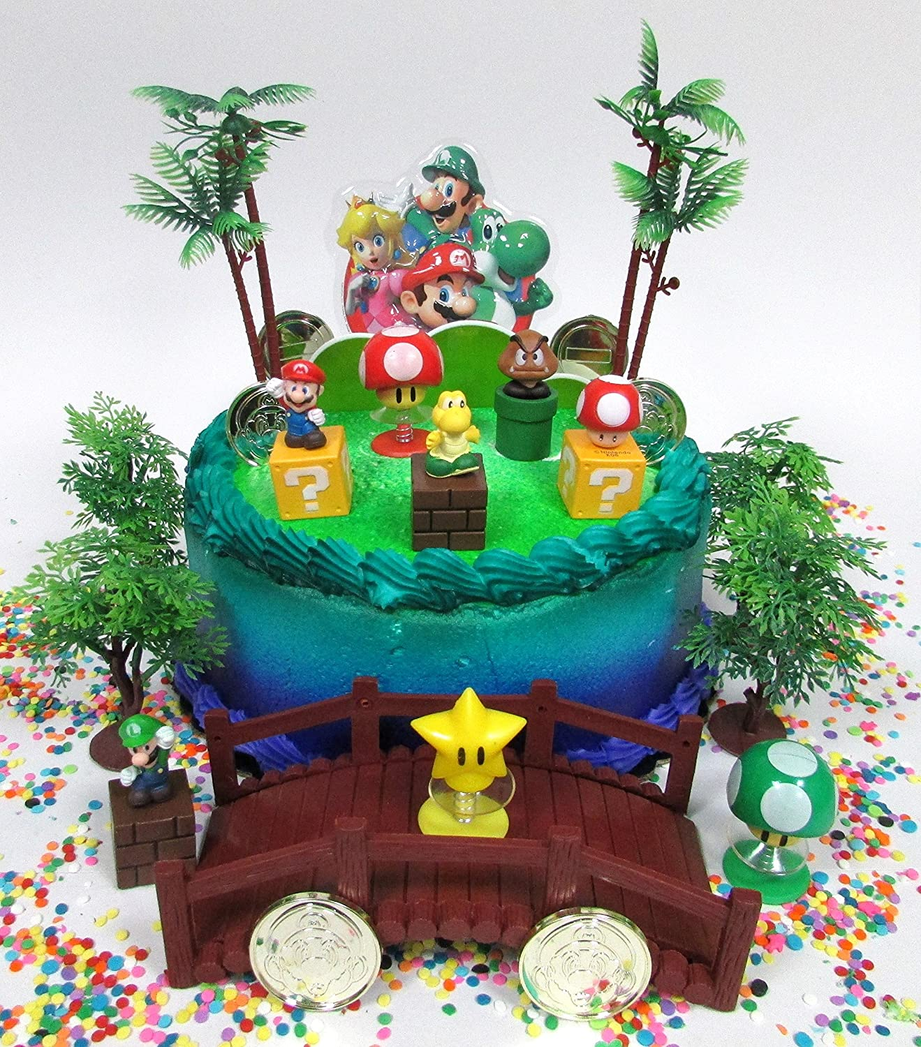 Phenomenal Amazon Com Cake Toppers Super Mario Brothers Deluxe Game Scene Funny Birthday Cards Online Bapapcheapnameinfo