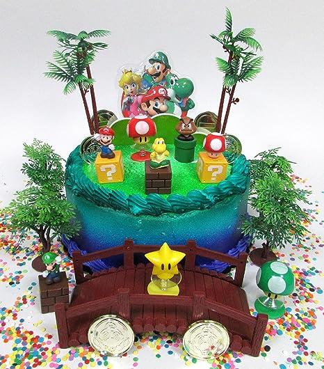 Enjoyable Amazon Com Cake Toppers Super Mario Brothers Deluxe Game Scene Personalised Birthday Cards Akebfashionlily Jamesorg