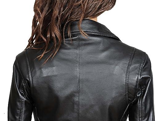 Amazon.com: Nuevo para mujer diseño italiano real chamarra ...