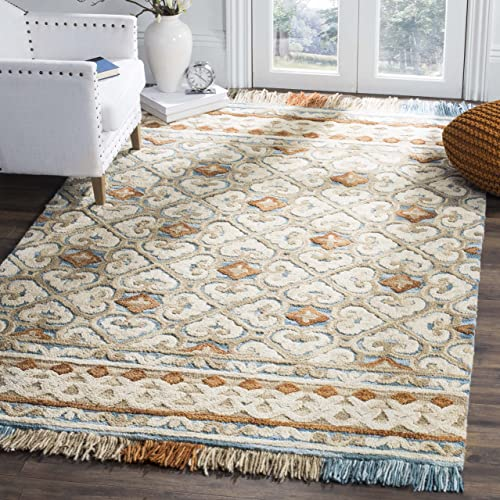 Safavieh Blossom Collection Floral Vines Premium Wool Area Rug, 5 x 8 , Ivory Blue