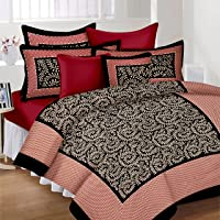 Lali Prints Traditional Jaipuri Block 185 TC Cotton Bedsheet with 2 Pillow Covers - King Size, Multicolour