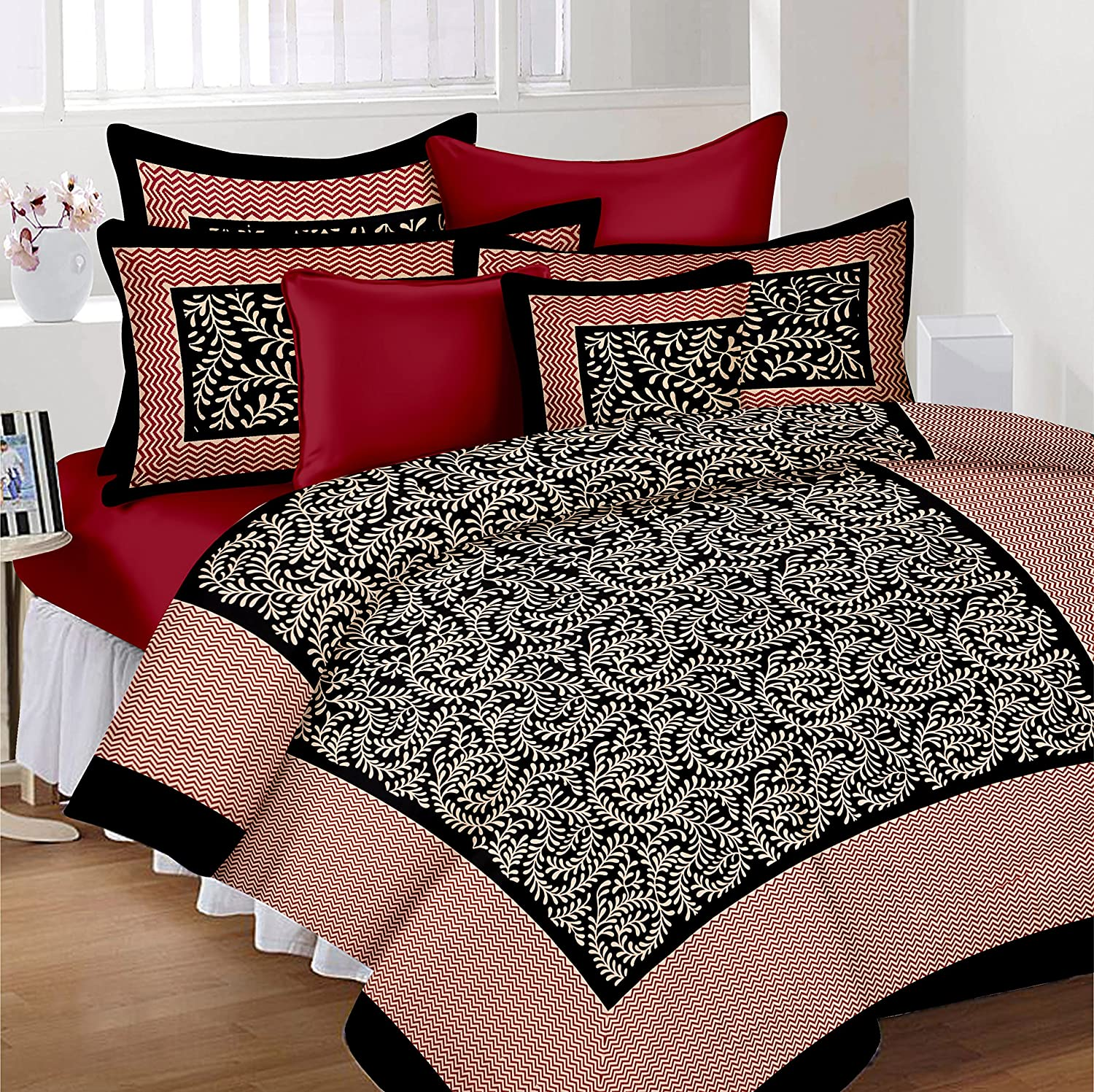 Lali prints traditional jaipuri block 185 tc cotton bedsheet with 2 pillow covers king size multicolour amazon in home kitchen