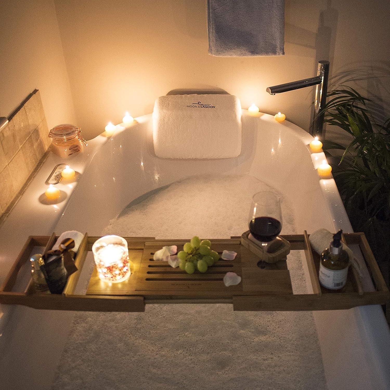 Moon /& Lagoon Cuscino da bagno impermeabile per testa e collo con copertura poggiatesta per vasca da bagno 7 ventose e borsa da viaggio