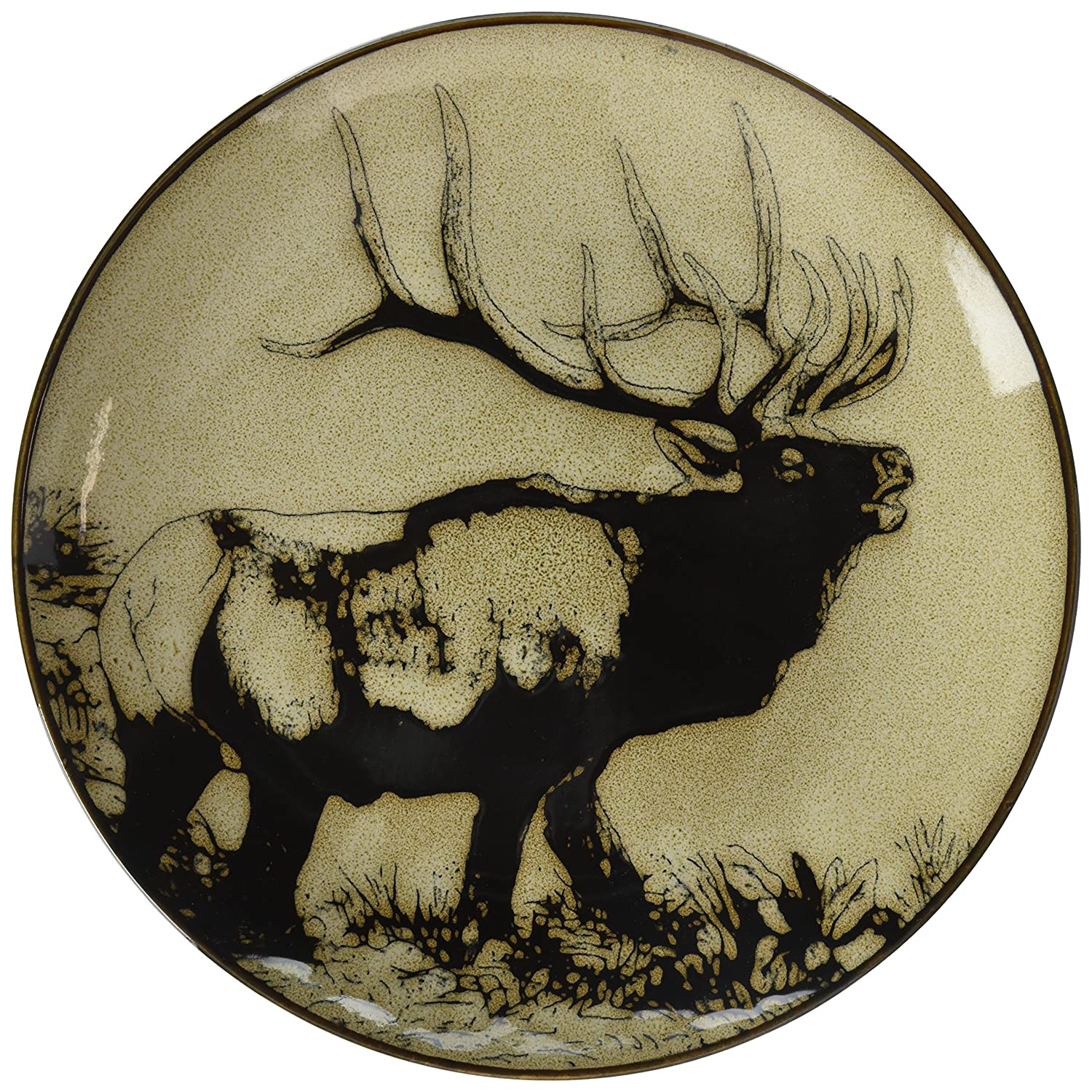 Black and Brown StealStreet SS-UG-TCD-851 8.25 Inch Elk with Wood Scene Ceramic Salad Plate