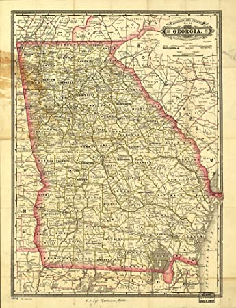 Amazoncom Map Poster Indexed Railroad And County Map Of - County map of georgia