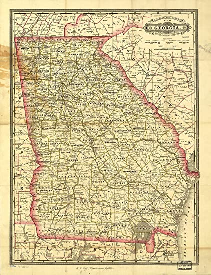 Railroad Map Of Georgia.Map Poster Indexed Railroad And County Map Of Georgia 24 X18 5