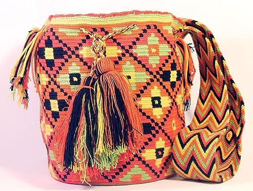 Wayuu Bolso Original Colombiano. Bolsos Artesanales Multicolores (Naranja)