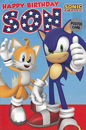 Sonic The Hedgehog Son Large Poster Birthday Card By Gemma Amazon