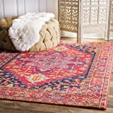 Traditional Vintage Katrina Blooming Rosette Pink Area Rugs, 8 Feet by 10 Feet (8' x 10')