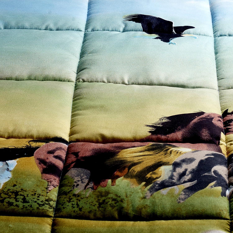 King 3 Piece Set Wild Horse and Eagle 3d Comforter Set Y25
