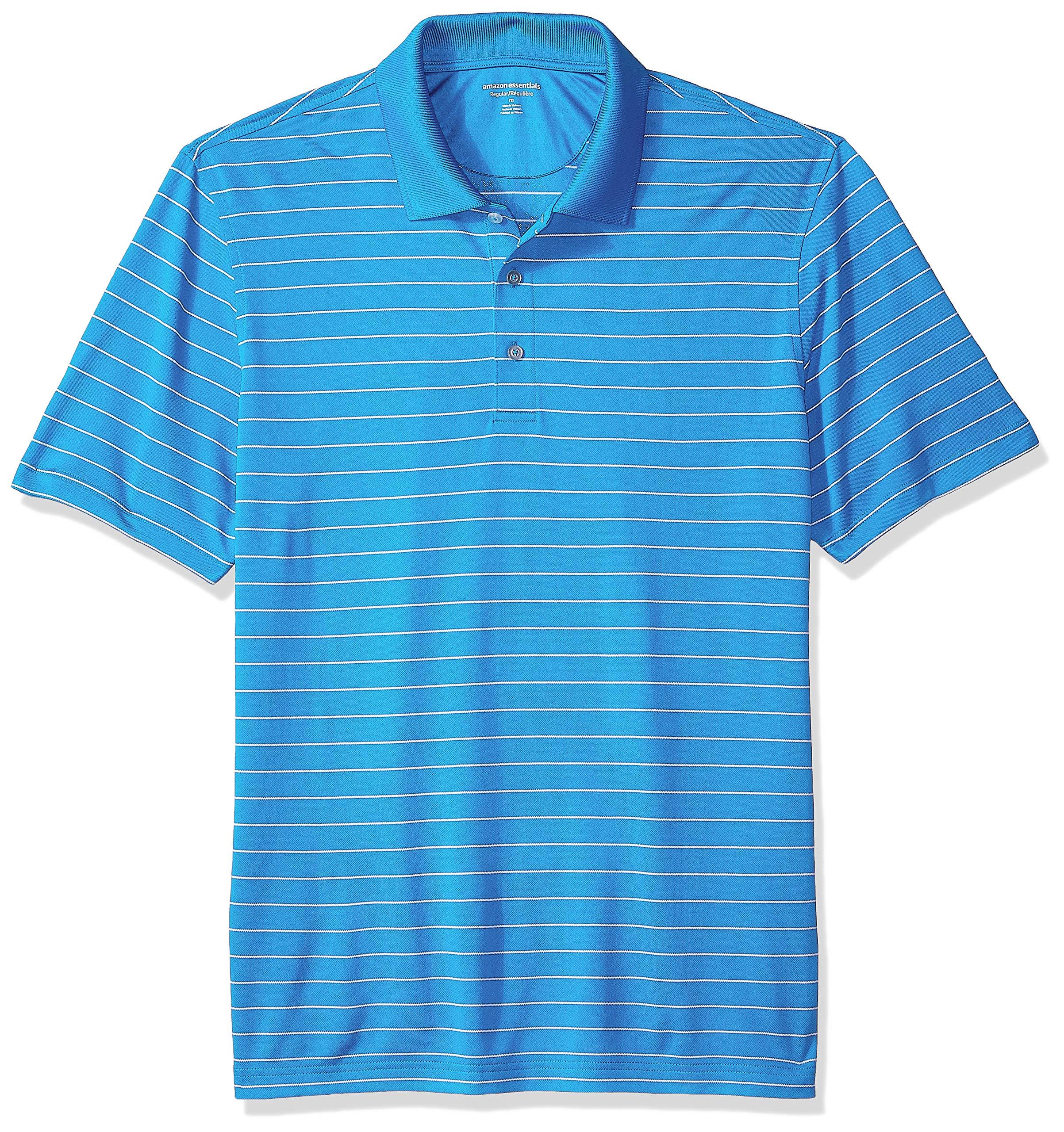 Amazon Essentials Men's Regular-Fit Quick-Dry Golf Polo Shirt, Electric Blue Stripe, X-Small