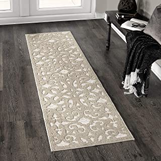 "product image for Orian Sculpted 4701 Indoor/Outdoor High-Low Debonair Driftwood Runner Rug, 1'11"" x 7'6"", Tan"