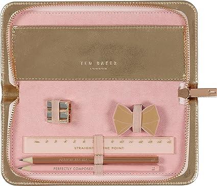 Ted Baker - Estuche para lápices de oro rosa, incluye regla de afilador de goma, dos lápices: Amazon.es: Oficina y papelería