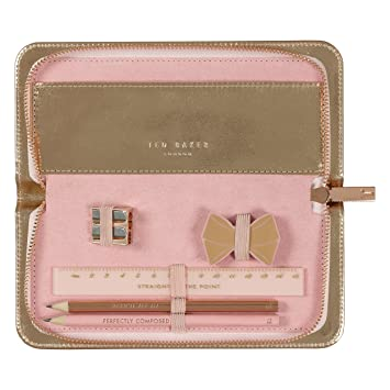 detailed look b5da7 21557 Ted Baker | Pencil Case | Rose Gold | Includes Rubber | Sharpener | Ruler |  Two Pencils