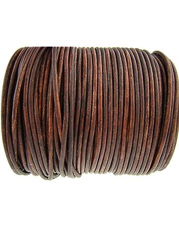 Cuerda de piel redonda 3 mm. Marrón antiguo. Longitud seleccionable. #2