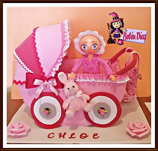 Fofucha Carrito bebé bautizo candy con niña 35 cms.: Amazon ...